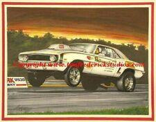 "Bill ""Grumpy"" Jenkins 1969 Camaro wheelie Drag Race Tim Frederick Litho Artwork."