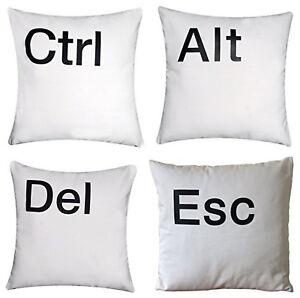 'Ctrl Alt Del Esc' High Quality Chenille Cotton White Cushion Covers Pillow