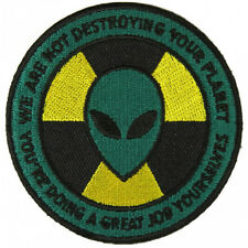 Embroidered Alien Warning Sew or Iron on Patch Biker Patch