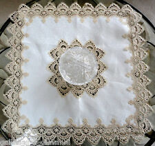 """DELICATE GOLD TRIM 34"""" Table Topper Doily Lace"""