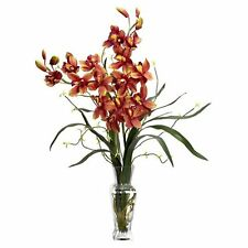 Decorative Natural Looking Artificial Burgundy Cymbidium Boat Orchid Silk Plants