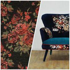NEW Designer Floral Needlepoint Inspired Upholstery Fabric- Black & Roses
