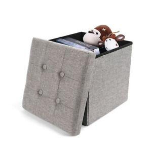 1 Seater Large Double Folding Storage Ottoman Seat Stool Box Grey for Toy Book