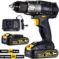Cordless Drill/Driver 20V Max, TECCPO 530 In-lbs Power Drill with 2pcs 2.0Ah Bat