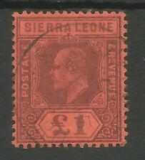 SIERRA LEONE SG85 THE 1903 EVII £1 PURPLE-RED FINE USED CAT £350
