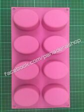 Pink Oval Oblong Silicone Rubber Soap Cake Chocolate Jelly Mold Molder Bakeware