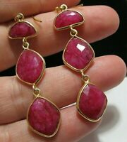 Beautiful Jewellery Sterling SILVER Natural Ruby 25.83cts Gem Stone EARRINGS