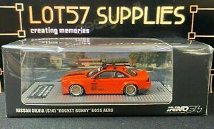 INNO64 Nissan Silvia S14 Rocket Bunny BOSS AERO w/ Roof Rack & Bicycles 1:64