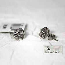 New 1/10 Carat Diamond Layered Circle Stud Earrings With Filigree Layer Sides