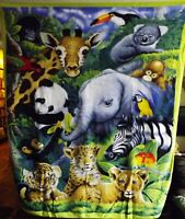 Jungle Animal Fleece Fabric Panel -- New