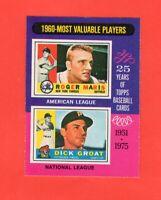 1975 OPC O PEE CHEE # 198 1960's MVP Roger Maris Dick Groat  nrmnt-mt