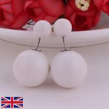 Women Double Sided Shiny White Stud Earrings - UK Free P&P