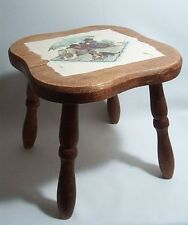 Wood Stool with Norman Rockwell Graphics Collectible Decorative Accessory