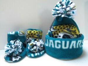 JAGUARS HANDCRAFTED newborn BABY HAT & BOOTIES jax FLEECE JACKSONVILLE NFL