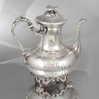 Antique French Silver Plate Cailar Bayard Tea Pot, Monogram, 19th Century