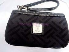 Tignanello Black Signature Jacquard Fabric With Leather Trim Small Wristlet VGUC