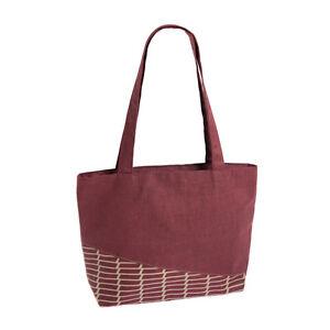 Red Linen Bag Tote / Shoulder Bag Zip Closure - Fair Trade BNWT