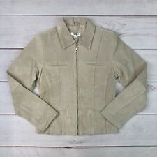 Vintage 90's Rampage Women's Small Leather Suede Beige Full Zip Moro Jacket