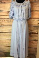 Women's NWT H&M Trend Powder Blue Blouson Midi Dress Lace Sleeves Sz 12 Boho