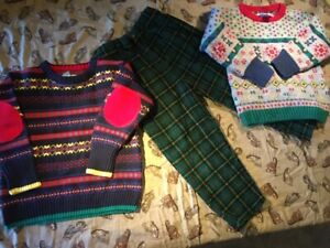 Vintage Gymboree 1998 Family Crest Holiday Christmas pants sweater set lot M L