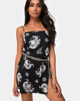 MOTEL ROCKS Datista Slip Dress in Black Dragon S Small (mr31)
