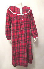 Lanz of Salzburg Nightgown sz Medium Red tartan Christmas Plaid Cotton Flannel