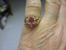 LADIES PINK SAPPHIRE & DIAMOND RING 14K YELLOW GOLD, 1 carat total  SIZE 4.5