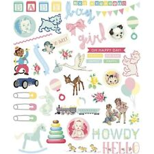 New Baby Themed Die-Cut Card Craft Embellishments with Glitter Detail 96pcs