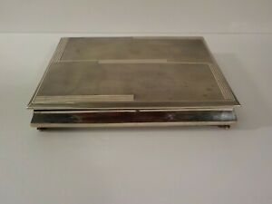 Continental 800 Silver Art Deco Table Box, Divided Wood Lined Interior