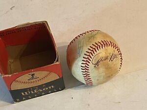 Vintage Wilson team signed baseball red sox rice signatures? many not legible