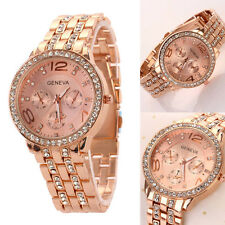 Fashion Men Women Geneva Bling Crystal Stainless Steel Quartz Analog Wrist Watch