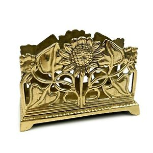 Vtg Brass Gold tone Sunflower Flower Desk Top Letter Holder Napkin Holder
