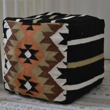 "Beanbag Wool Kilim Fabric Pouf Pouffe Cover 40cm 16"" Cube Hand knotted Ottoman"