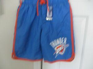 OKC Thunder Boys 10/12 Blue Orange Drawstring Swim Trunks New With Tags