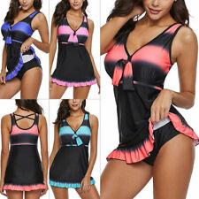Plus Size Women Swimdress One Piece Swimsuit Swimwear Beachwear Push Up Padded