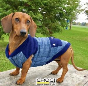 Croci Italian Designer Denim Vest Jacket Puppy/Dog Coat (30)Harness Access