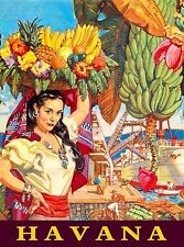 Cuba Cuban Havana Habana Girl with Fruit Travel Advertisement Poster Print