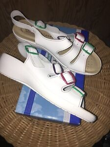 FLY FLOT White Leather Anatomic Sling-back Sandals Size UK 6 39 EU Ex Condition