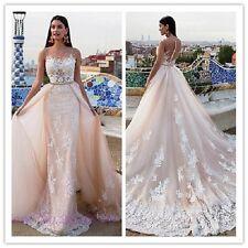 Sexy Mermaid Wedding Dresses Lace Applique Bride Gowns With Detachable Train