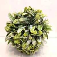 New 14cm Christmas Branch Leaf Glitter Ball w White Berry Hanger Xmas Wall Decor