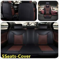 5-Seats Car Seat Cover Front+Rear Microfiber Leather Cushion W/Pillow For Ford
