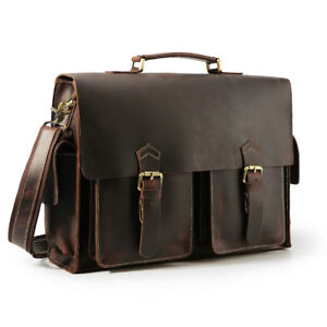 "Men Full Grain Leather Briefcase Handbag 17"" Laptop Case Messenger Bag Trip Bag"