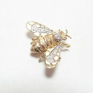 JM Estate 14K Yellow, White Gold Single Cut Diamond And Ruby Bee Brooch 0.07 Cts