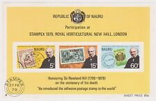 (K30-42) 1979 Nauru Sir Rowland Hill anniversary M/S MUH