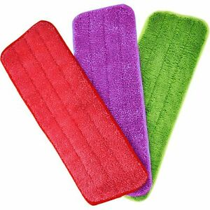 Spray Floor Mop Replacement Microfibre Pads PURPLE RED GREEN