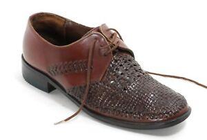 Schuhe Herrenschuhe Halbschuhe Korbmuster Schnürschuhe Braun 50s 40s 42,5