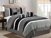 DCP 7Pcs, Collection Bed in Bag Luxury Stripe Microfiber Comforter Set King Grey