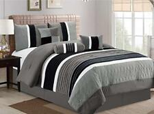 Dcp 7Pcs Collection Bed in Bag Luxury Stripe Comforter Sets, Cal King Grey