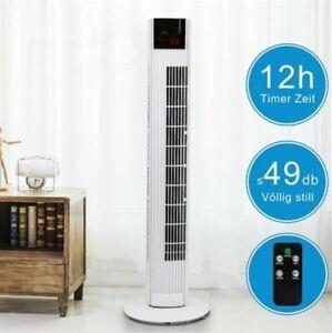 Tower Floor Fan Oscillating 3 Speeds 45 Watt Bladeless Remote Control Fan- White