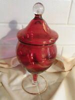 Ruby Red Gold Trim Rim On Rim Apothecary Vintage Candy Jar Vintage